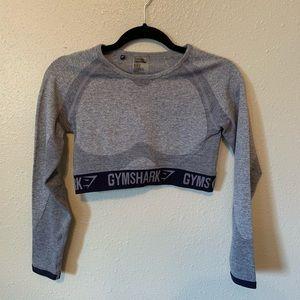Gymshark Flex Long Sleeve Crop Top Steel Blue